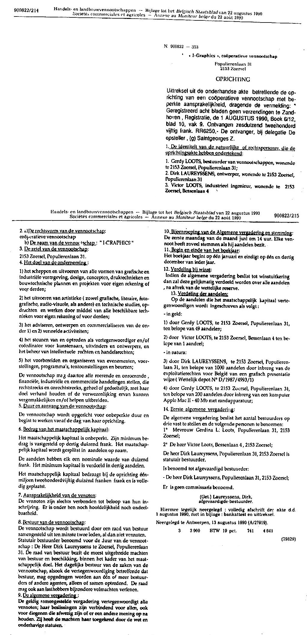 1990-08-01 statutes of I-Graphics