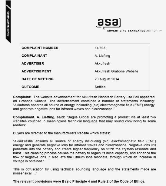 asa complaint misleading advertizing akkufresh brand 2014-08-20