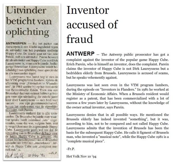 Inventor Dirk Laureyssens accused by fraud - Het Volk 1994-11-10