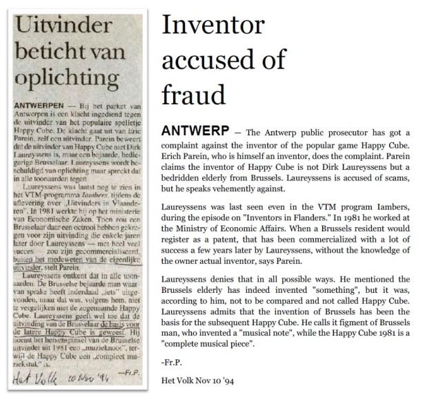 Inventor Dirk Laureyssens accused by fraud - Het Volk 1994-11-10