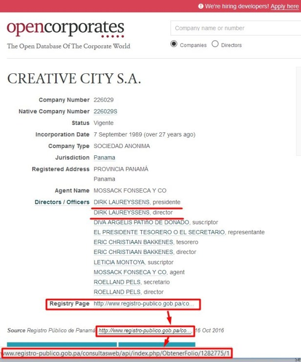 opencorporates-com mentions dirk laureyssens name in panama company