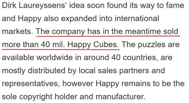 Over 40 million sold Happy Cubes