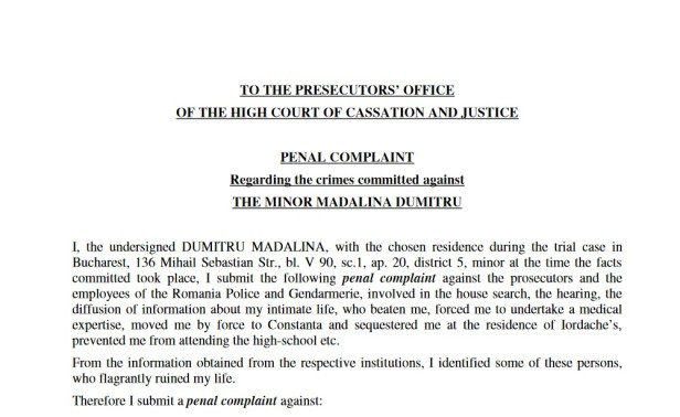 Penal complaint regarding crimes committed against the minor Madalina Dumitru