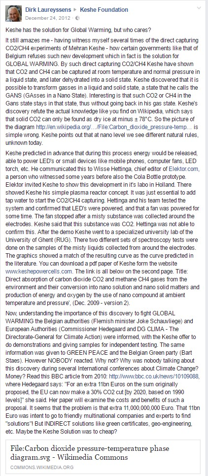 Dirk Laureyssens about MT Keshe 2012-12-24