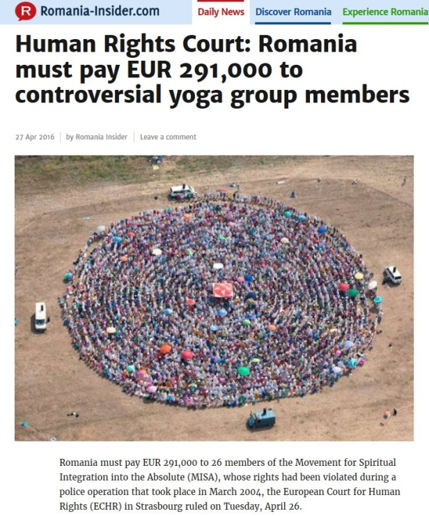 European Human Rights Court orders Romania must pay 291000 EUR to yoga group members